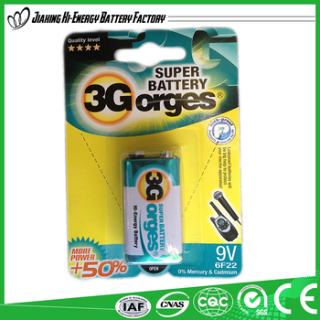 High Performance Efficient Energy Dry Cell 9V Aluminum Battery 6F22