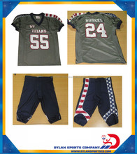 American Football Uniforms sublimation US flag shoulder and pant panels