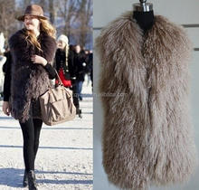 2016 Real Mongolian Sheep Fur Vest / Tan Lamb Fur Vest