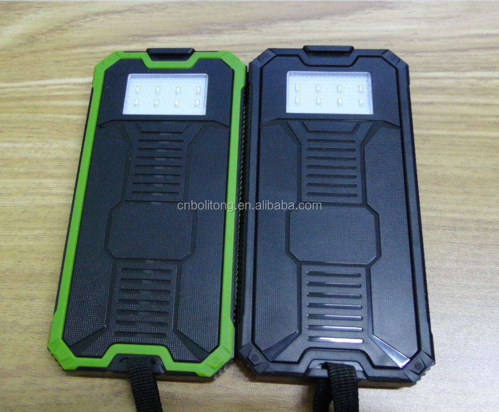 Portable Waterproof rohs 12V 5V Solar Mobile Charger Car Battery Case Solar Power Bank 12000 mAh