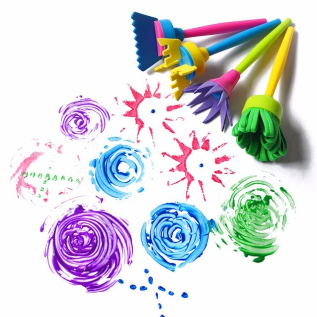4 Pcs/Set Flower Stamp Sponge Brush Set Drawing Toys Art Supplies Kids DIY Painting Tools Drawing Toys