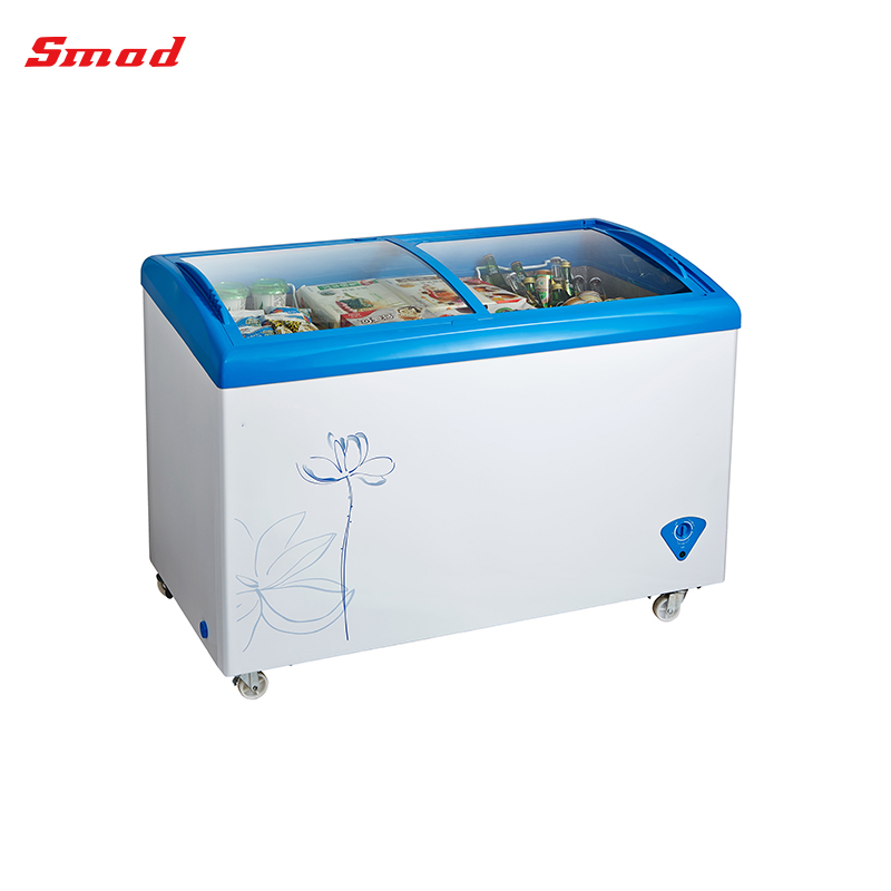 254L Ice Cream Curved Glass Display Showcase Chest Freezer