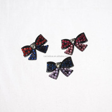 Fancy black bow tie clear plastic hair clip with colorful small rhinestone girls hair clip for thick hair.