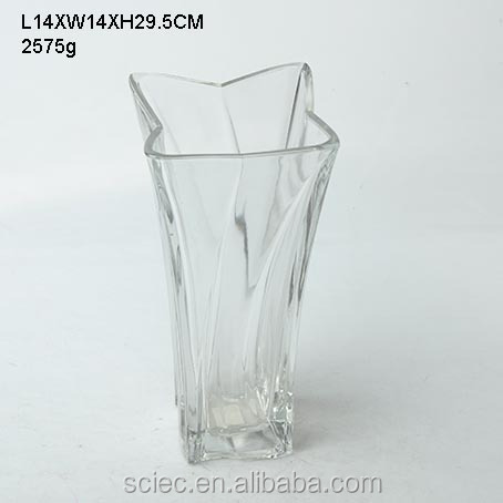 Decorative star shaped embossed glass vase for home decoration