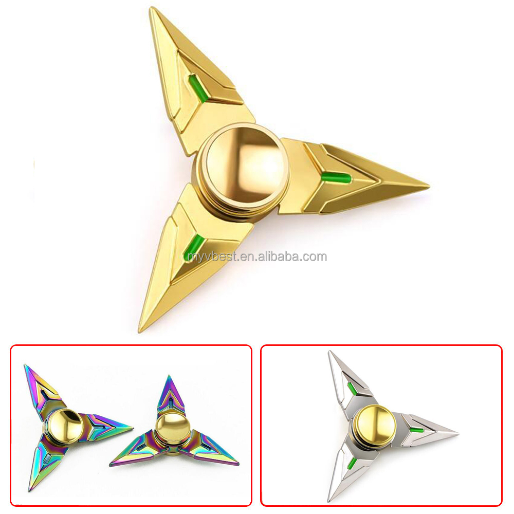 Fidget Hand Spinner Triangle Metal Finger Tri-Spinner Focus Toy Genji Shuriken Ninja Toy