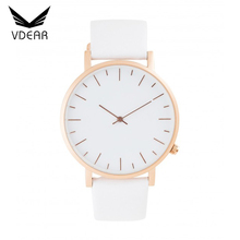 Rose gold stainless steel no name watches men custom logo brand leather mens watches