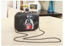 fashion elegant dog printed pu women evening bag clutch with chain and metal frame