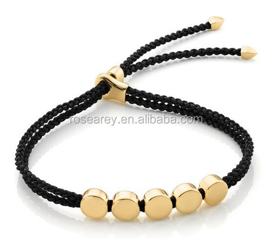 Fancy Unique Friend Gift 18K Gold Filled Flat Disks Linear Bead Adjustable Rope Cord Friendship Bracelet