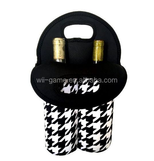 Durable Neoprene 2-Bottle Wine Carrier or Wine Bag - Great Giftable Wine Tote bag!