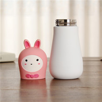 Christmas Promotional Gift 2016 Children Cute 3D Rabbit & Bear Cover Stainless Steel High Grade Vacuum Flask with Strainer