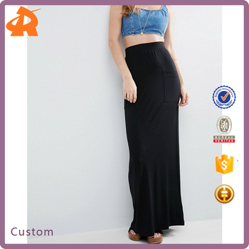 OEM high quality long pencil skirt,black long skirt for muslim women