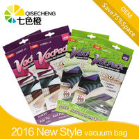 Roll-up storage space saver travel compress vacuum seal bags for travel