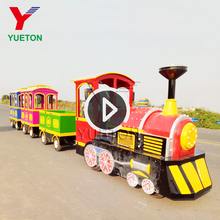 Outdoor Small Kiddie Ride Electric Tourist Road Barrel Games Mini Trackless Train Factory For Sale