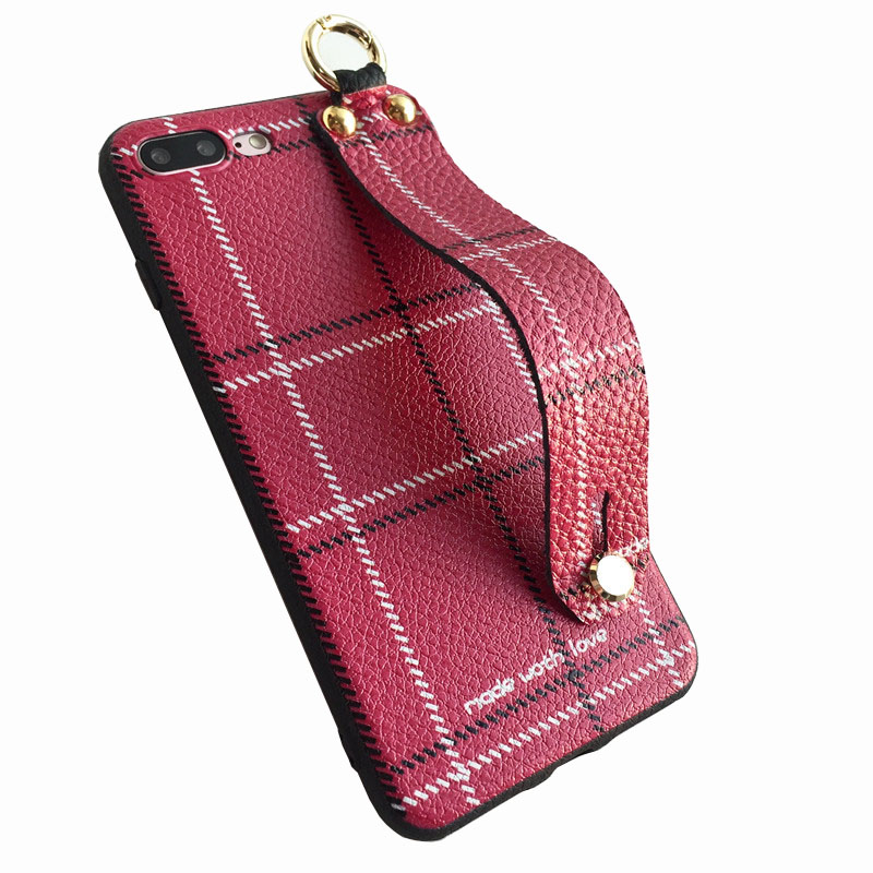 Cross Pattern With Arm Strap Leather Phone Case Cell Phone Case Arm Strap For Iphone 7