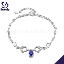 Wholesale cheap blue stone rhodium plating silver bracelet