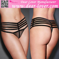 Super sexy design cheap black shiny caged sheer mesh thong panty for mature women