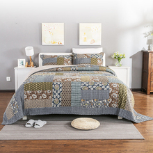 MH 100% Cotton 3-Piece Handmade Stitching Patchwork Quilted Bedspread air conditioning quilt