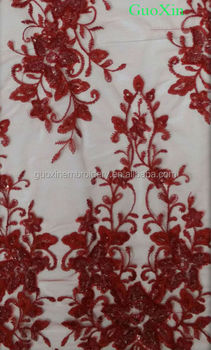 2014 french lace polyester with rhinestones hot embroidery design