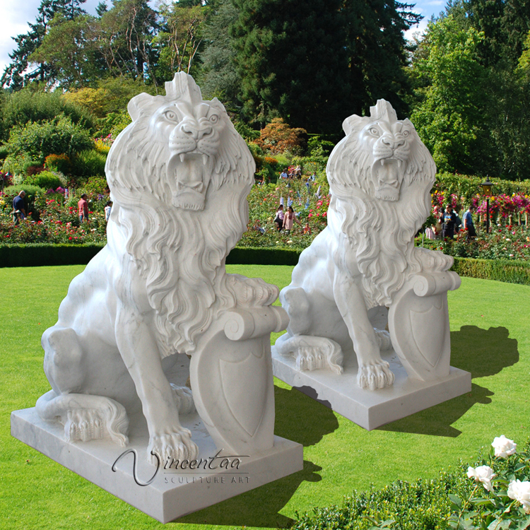 metal garden sculpture stone carving white marble lion statues