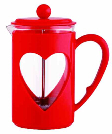 colorful heart-shaped plastic french press coffee plunger