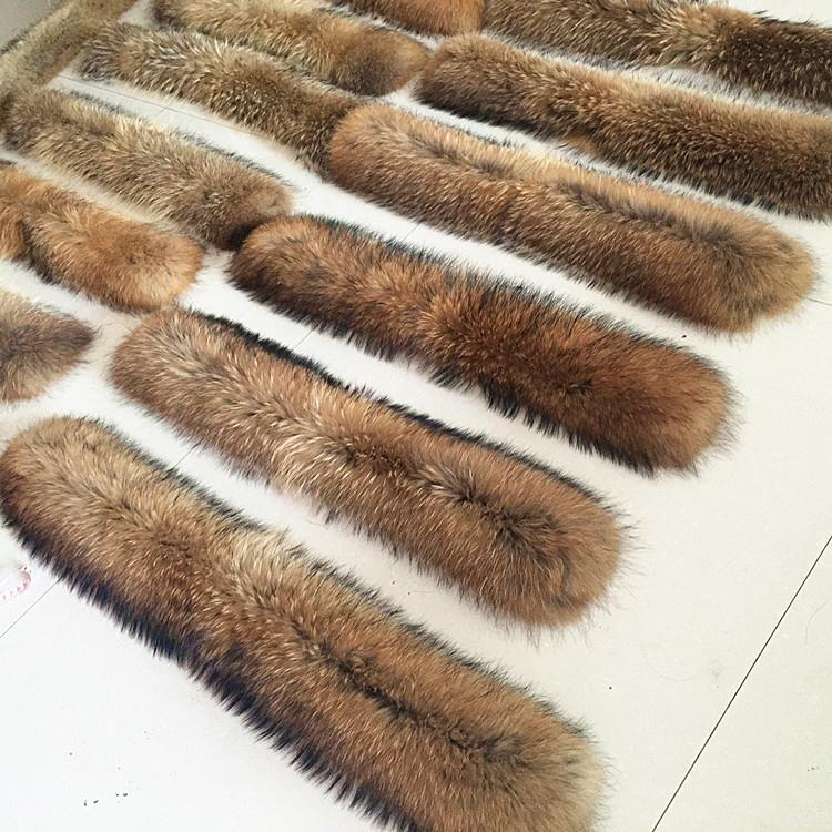 High quality full pelt natural raccoon dog fur trim for down coat hood .
