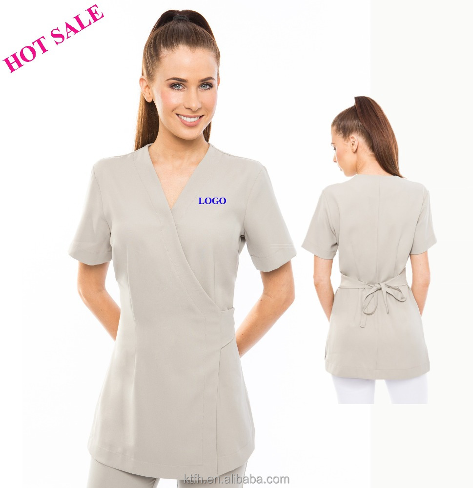 Fashionable stylish hair dressers make up nail artist profession wrap work tunic