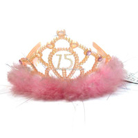 fashion design tiara crown plastic pink feather decor princess crown for girl