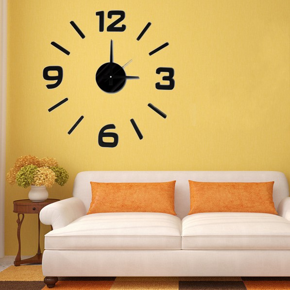3d EVA customized wall clock, hot selling large wall sticker clock for home