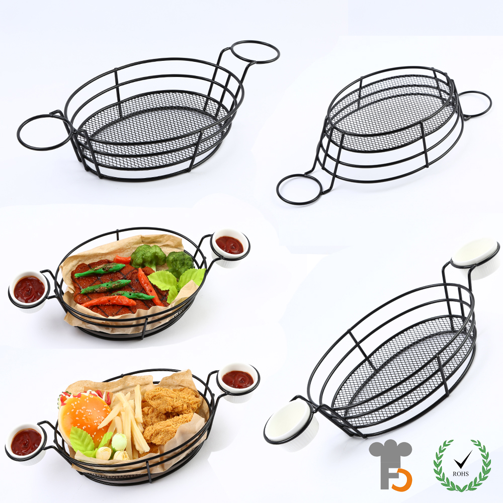 Burger and French Fry Basket | Fast Food Basket with Chip Cone Holder F0077