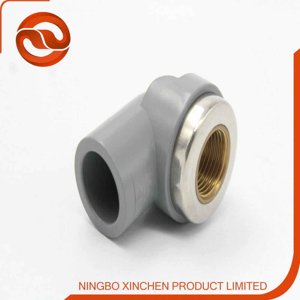 Plastic pipe fitting degree flange elbow with copper