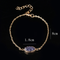 Semi-Precious Raw Colored Stone Slim Gold Plated Chain Link Bracelet For Ladies