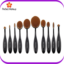 10pcs toothbrush shape synthetic hair oval makeup brush set