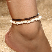 2pcs/set Handmade Natural Seashell Anklets for Women Summer Beach Wax Rope Shell Foot Anklet Bracelet Bohemian Jewelry