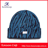 crocheted cap/hat with woven label patch logo on front/custom free pattern knitted cap