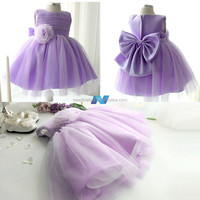 Purple Christmas Wedding Bridal Bridesmaid Organza Kids Big Bow Girl Dress
