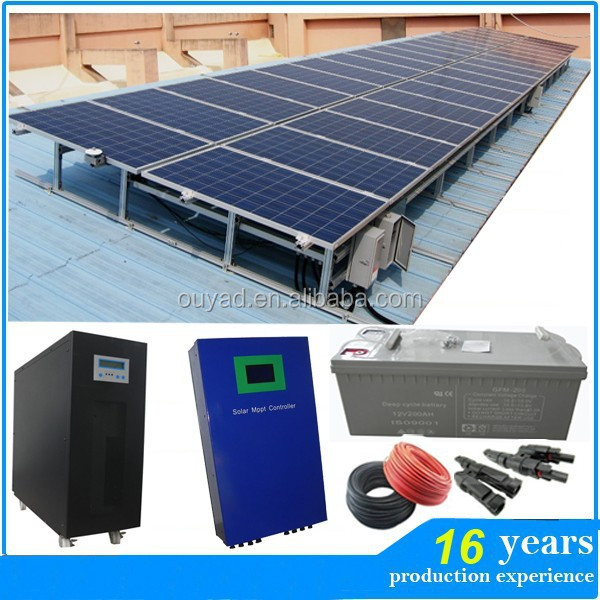 Factory price 10KW full power solar panel/inverter/controller/battery complete set off grid home solar system