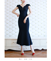 Latest maxi dress fishtail bandage V neck short sleeve navy ladies elegant long frocks