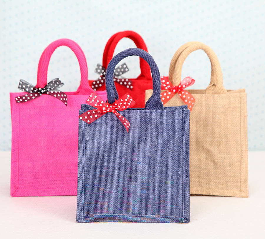 Wholesale waterproof colorful jute bag with zipper