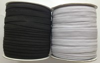 1/2 Inch 12mm Wide braided High Quality 16 Cord Flat decorative Elastic in Black or White