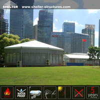 Aluminum alloy frame polygon tent with toughened glass wall