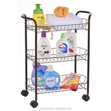 Black 3 tier metal wire bathroom rolling kitchen vegetable cart trolley rack