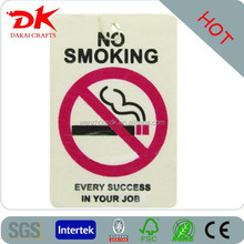 home decoration no smoking label printed car paper air freshener