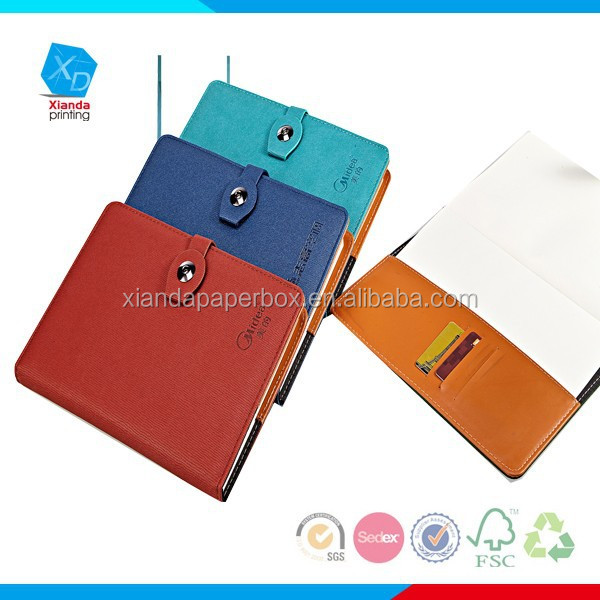 Customized Printed Blue PU Executive Notebooks