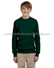 Kids bottle green 65% polyester 35% cotton set in sleeves crew neck 1X1 rib cuffs bottom pullover sweat shirt