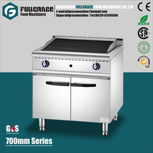 hot sale 700mm series free standing commercial stainless steel gas lava rock grill with cabinet