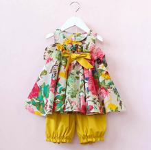 BBY6021 Fashion clothing 2017 child girls flower tops and shorts two piece sets