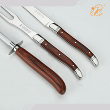 3pcs long bbq outdoor laguiole knife and fork