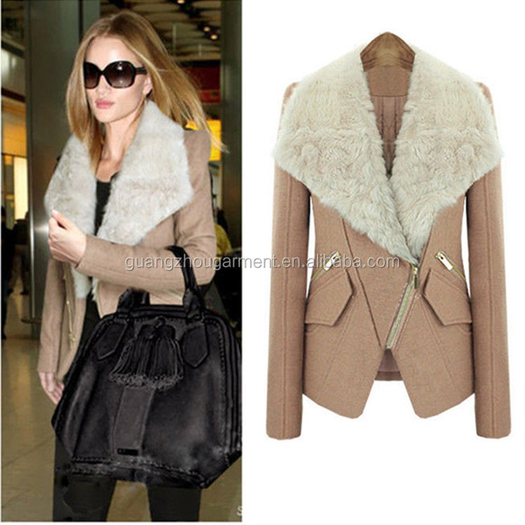 Women Girl Winter Coat Fur Collar Wool Blend Warm Slim Short ...