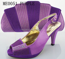 PURPLE fashion design lady evening italian shoes and bag set /shoes and matching clutch bag