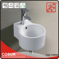 China Small Size Wall Hung Round Ceramic Wash Basin for Hotel